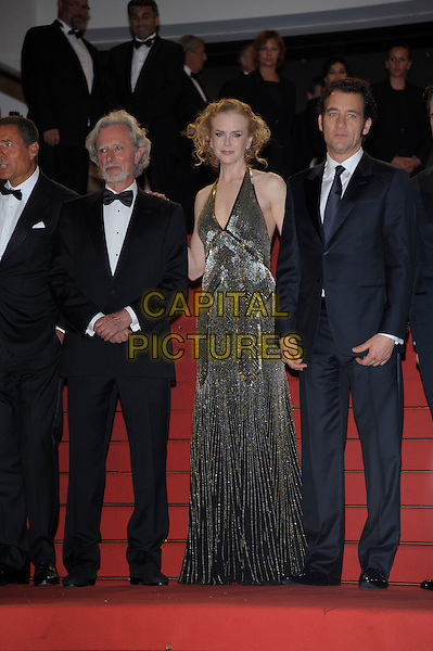 Philip Kaufman, Nicole Kidman, Clive Owen.'Hemingway & Gellhorn' screening at the 65th  Cannes Film Festival, France,.24th May 2012..full length gold beaded halternck long maxi dress  black navy blue black tuxedo tux suit bow tie .CAP/PL.©Phil Loftus/Capital Pictures.
