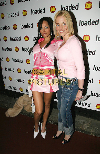 PAGE THREE GIRLS.Loaded - 10th birthday awards ceremony & party at Rouge nightclub.7 April 2004.full length, full-length, cheerleader outfit, miniskirt, denim jeans, pink cardigan.www.capitalpictures.com.sales@capitalpictures.com.© Capital Pictures.