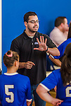 27 October 2013: Yeshiva University Maccabee Head Coach Arnold Ross gives instruction prior to a game against the College of Mount Saint Vincent Dolphins at the College of Mount Saint Vincent in Riverdale, NY. The Dolphins defeated the Maccabees 3-0 in NCAA women's volleyball play. Mandatory Credit: Ed Wolfstein Photo *** RAW (NEF) Image File Available ***