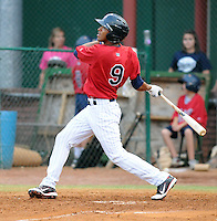 Outfielder Eddie Rosario (9) of the Elizabethton Twins, Appalachian League affiliate of the Minnesota Twins, in a game against the Bristol White Sox on August 18, 2011, at Joe O'Brien Field in Elizabethton, Tennessee. Rosario was named to the 2011 Appalachian League Postseason All-Star Team and was Co-Player of the Year. (Tom Priddy/Four Seam Images)