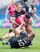 Picture by Allan McKenzie/SWpix.com - 07/04/2018 - Rugby League - Betfred Super League - Salford Red Devils v Warrington Wolves - AJ Bell Stadium, Salford, England - Warrington's Mike Cooper and Kevin brown tackle Salford's Derrell Olpherts.