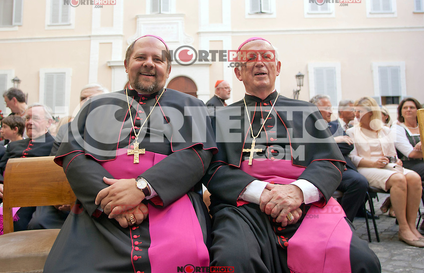Auxiliary Bishop Wolfgang Bischof (L) at the honorary evening for Pope Benedict XVI. for his 85th Birthday in the courtyard of the papal summer residence at Castel Gandolfo in Italy, with costumes clubs from all over Bavaria. Castel Gandolfo, Italy, 03.08.2012...Credit: Nickels/face to face / Mediapunchinc  - ***online only for weekly magazines**** /NortePhoto.com<br /> <br />  **CREDITO*OBLIGATORIO** *No*Venta*A*Terceros*<br /> *No*Sale*So*third* ***No*Se*Permite*Hacer Archivo***No*Sale*So*third*