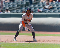 Tony Kemp (5) of the Fresno Grizzlies takes his lead from first base during the game against the Salt Lake Bees in Pacific Coast League action at Smith's Ballpark on April 16, 2017 in Salt Lake City, Utah. Salt Lake defeated Fresno 5-4. (Stephen Smith/Four Seam Images)