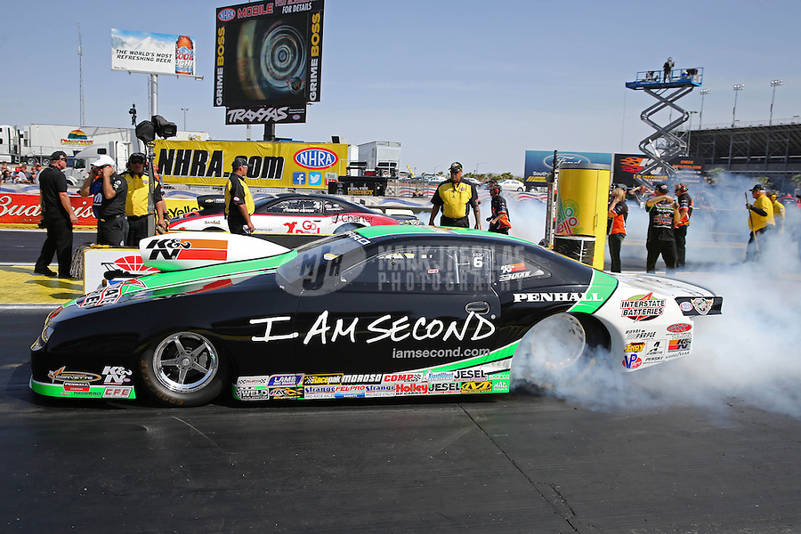 Apr. 7, 2013; Las Vegas, NV, USA: NHRA pro stock driver Mike Edwards during the Summitracing.com Nationals at the Strip at Las Vegas Motor Speedway. Mandatory Credit: Mark J. Rebilas-