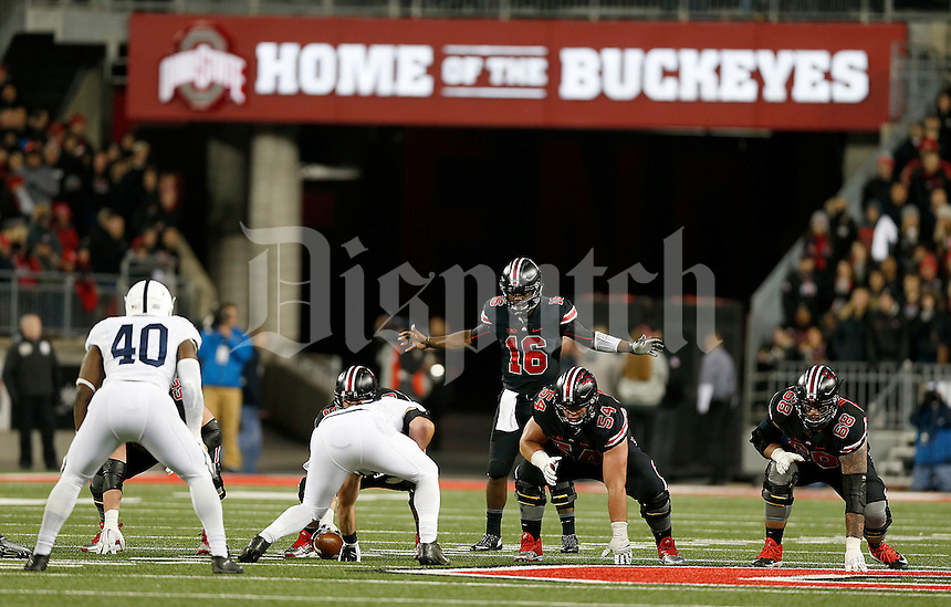 Ohio State Buckeyes quarterback J.T. Barrett (16) gets ready for the snap during the third quarter of the NCAA football game between the Ohio State Buckeyes and the Penn State Nittany Lions at Ohio Stadium on Saturday, October 17, 2015. (Columbus Dispatch photo by Jonathan Quilter)