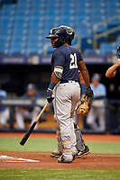 Moises Gomez (21) at bat during the Tampa Bay Rays Instructional League Intrasquad World Series game on October 3, 2018 at the Tropicana Field in St. Petersburg, Florida.  (Mike Janes/Four Seam Images)