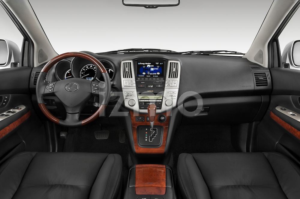 Straight dashboard view of a 2008 Lexus RX Hybrid.