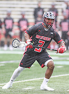 College Park, MD - April 15, 2018: Rutgers Scarlet Knights Chad Toliver (3) in action during game between Rutgers and Maryland at  Capital One Field at Maryland Stadium in College Park, MD.  (Photo by Elliott Brown/Media Images International)