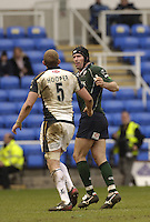 Reading, Berks, ENGLAND, 15.04.2006, left Tykes Stuart Hooper and Olivier Magne,  auguring and jestering, while leaving the pitch, after being yellow carded by referee, Chris White,  during the Guinness Premiership match, London Irish vs Leed Tykes, at the Madejski Stadium,  © Peter Spurrier/Intersport-images.com.