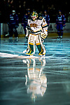 19 January 2018: University of Vermont Catamount Goaltender Stefanos Lekkas, a Sophomore from Elburn, IL, is introduced prior to facing the University of Massachusetts Lowell Riverhawks at Gutterson Fieldhouse in Burlington, Vermont. The Riverhawks rallied to defeat the Catamounts 3-2 in overtime of their Hockey East matchup. Mandatory Credit: Ed Wolfstein Photo *** RAW (NEF) Image File Available ***