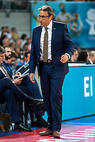Herbalife Gran Canaria's coach Luis Casimiro during the match of the semifinals of Supercopa of La Liga Endesa Madrid. September 23, Spain. 2016. (ALTERPHOTOS/BorjaB.Hojas)