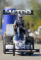 Sept. 29, 2012; Madison, IL, USA: NHRA top fuel dragster driver Antron Brown during qualifying for the Midwest Nationals at Gateway Motorsports Park. Mandatory Credit: Mark J. Rebilas-
