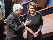 United States Representative John B. Larson (Democrat of Connecticut), left, and US House Minority Leader Nancy Pelosi (Democrat of California), right, converse prior to the arrival of US President Donald J. Trump who will deliver his first State of the Union address to a joint session of the US Congress in the US House chamber in the US Capitol in Washington, DC on Tuesday, January 30, 2018.<br /> Credit: Ron Sachs / CNP