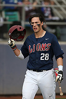 Niko Decolati (28) of the Loyola Marymount Lions during a game against the Washington State Cougars at Page Stadium on February 26, 2017 in Los Angeles, California. Loyola defeated Washington State, 7-4. (Larry Goren/Four Seam Images)