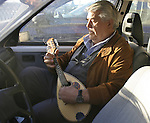 Man playing a mandolin in a car. Siracusa, Sicily, Italy, Europe