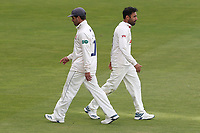 Essex skipper Ryan ten Doeschate (L) walks off the field as Ravi Bopara comes on during Warwickshire CCC vs Essex CCC, Specsavers County Championship Division 1 Cricket at Edgbaston Stadium on 10th September 2019