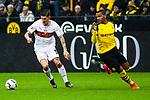 09.03.2019, Signal Iduna Park, Dortmund, GER, 1.FBL, Borussia Dortmund vs VfB Stuttgart, DFL REGULATIONS PROHIBIT ANY USE OF PHOTOGRAPHS AS IMAGE SEQUENCES AND/OR QUASI-VIDEO<br /> <br /> im Bild   picture shows:<br /> Steven Zuber (VfB Stuttgart #9) im Duell mit Manuel Akanji (Borussia Dortmund #16), <br /> <br /> Foto &copy; nordphoto / Rauch