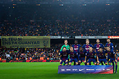 9th September 2017, Camp Nou, Barcelona, Spain; La Liga football, Barcelona versus Espanyol; FC Barcelona team line up with independence slogan