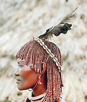 Portrait of a Hamer tribeswoman, her hair treated with ochre, water and resin and twisted into tresses known as goscha, Turmi, Lower Omo Valley, Ethiopia