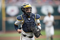 Michigan Wolverines catcher Joe Donovan (0) during Game 1 of the NCAA College World Series against the Texas Tech Red Raiders on June 15, 2019 at TD Ameritrade Park in Omaha, Nebraska. Michigan defeated Texas Tech 5-3. (Andrew Woolley/Four Seam Images)