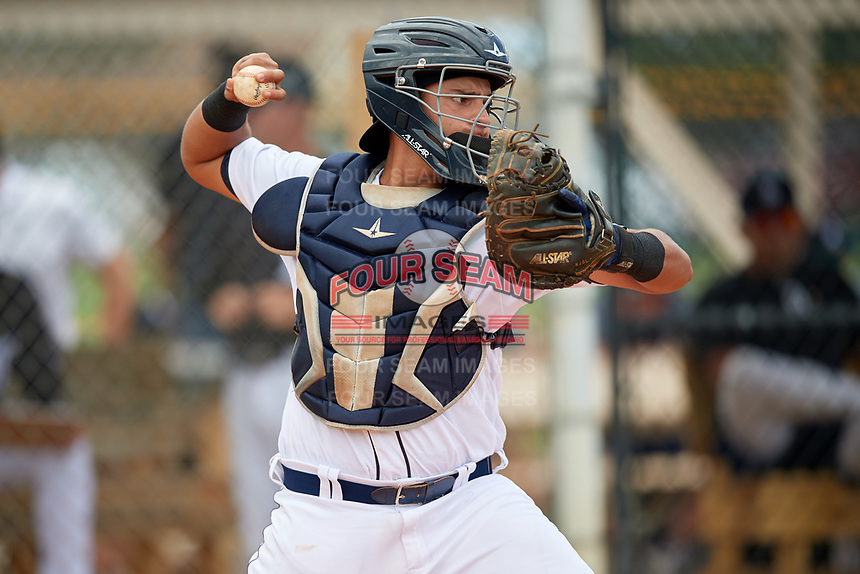 Detroit Tigers catcher Eduardo Valencia (60) during an Instructional League game against the Philadelphia Phillies on September 19, 2019 at Tigertown in Lakeland, Florida.  (Mike Janes/Four Seam Images)