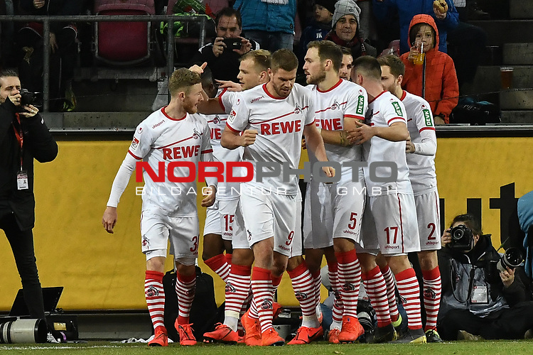 08.02.2019, Rheinenergiestadion, Köln, GER, DFL, 2. BL, VfL 1. FC Koeln vs FC St. Pauli, DFL regulations prohibit any use of photographs as image sequences and/or quasi-video<br /> <br /> im Bild Jhon Cordoba (#15, 1.FC Köln / Koeln)  jubelt nach seinem Tor zum 1:0 mit seiner Mannschaft<br /> <br /> Foto © nph/Mauelshagen