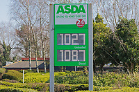 Pictured: The price display t the Asda petrol station, with fuel being sold cheaper than a few weeks ago, Swansea, Wales, UK. Wednesday 25 March 2020 <br /> Re: Covid-19 Coronavirus pandemic, UK.