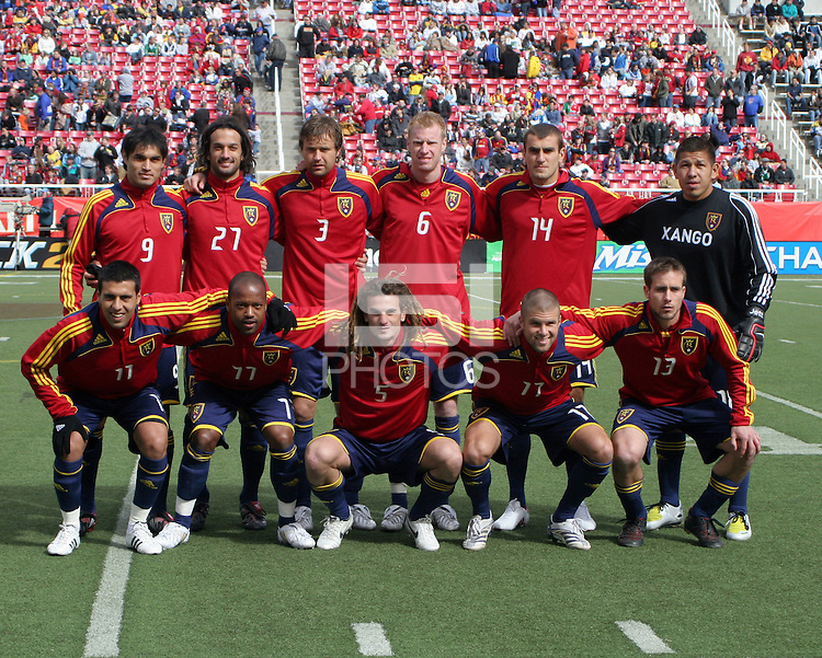Real Salt Lake starting XI. The Chicago Fire and Real Salt Lake played to a 1-1 tie during a Major League Soccer match at Rice-Eccles Stadium in Salt Lake City, Utah on March 29, 2008.