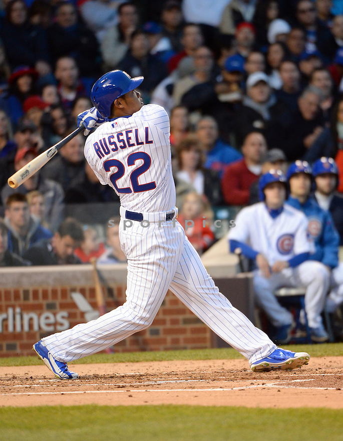 Chicago Cubs Addison Russell (17) during a game against the Pittsburgh Pirates on April 28, 2015 at Wrigley Field in Chicago, IL. The Cubs beat the Pirates 6-2.