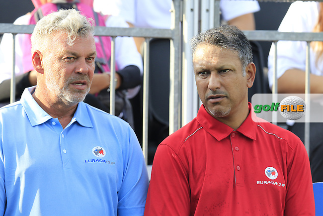 Team Captains Darren Clarke (NIR) and Jeev Milka Singh (IND) on the 1st tee before the start of the Pro-Am Day of the 2016 Eurasia Cup held at the Glenmarie Golf &amp; Country Club, Kuala Lumpur, Malaysia. 14th January 2016.<br /> Picture: Eoin Clarke | Golffile<br /> <br /> <br /> <br /> All photos usage must carry mandatory copyright credit (&copy; Golffile | Eoin Clarke)