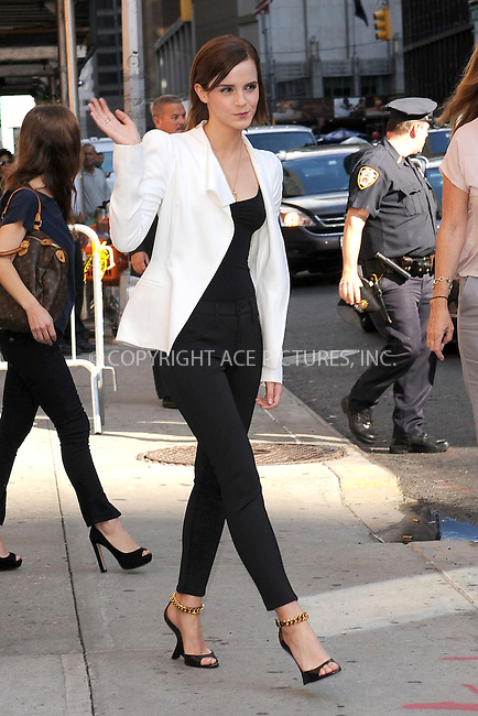 WWW.ACEPIXS.COM . . . . . .September 5, 2012...New York City....Emma Watson tapes an appearance on the Late Show with David Letterman on September 5, 2012  in New York City ....Please byline: KRISTIN CALLAHAN - ACEPIXS.COM.. . . . . . ..Ace Pictures, Inc: ..tel: (212) 243 8787 or (646) 769 0430..e-mail: info@acepixs.com..web: http://www.acepixs.com .