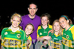 Saoirse, Jessie Griffin, Orla O'Sullivan, Kelly and Sarah Sheahan with their hero Declan O'Sullivan at Sam Muguire homecoming in Glenbeigh on Tuesday