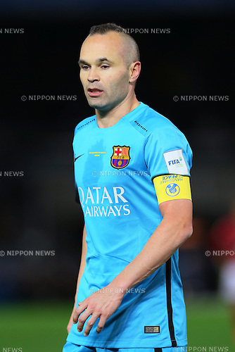 Andres Iniesta (Barcelona), <br /> DECEMBER 17, 2015 - Football / Soccer : <br /> FIFA Club World Cup Japan 2015 <br /> semi-final match between Barcelona 3-0 Guangzhou Evergrande <br /> at Yokohama International Stadium in Kanagawa, Japan.<br /> (Photo by Yohei Osada/AFLO SPORT)