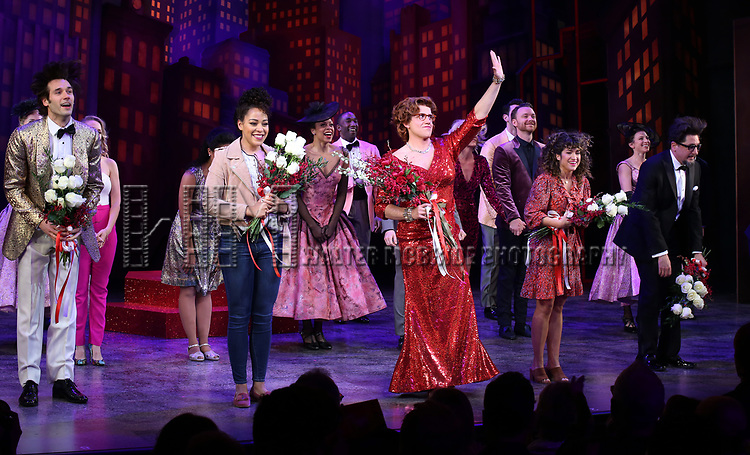 """Jpohn Behlmann, Lilli Cooper, Santino Fontana, Sarah Stiles and Reg Rogers with cast during the Broadway Opening Night of """"Tootsie"""" at The Marquis Theatre on April 22, 2019  in New York City."""