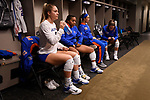 KANSAS CITY, MO - DECEMBER 16: Allie Monserez (22) of the University of Florida sits and prepares in the locker room before the Division I Women's Volleyball Championship held at Sprint Center on December 16, 2017 in Kansas City, Missouri. (Photo by Jamie Schwaberow/NCAA Photos via Getty Images)