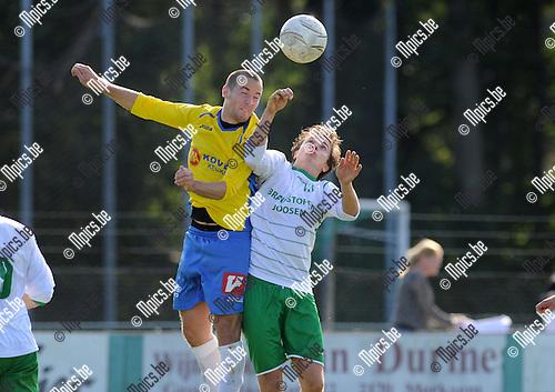 2014-09-21 / Voetbal / seizoen 2014-2015 / Exc. Kaart - KSV Schriek / Jef Luyten (l. Schriek) met Sil Boeykens<br /><br />Foto: Mpics.be