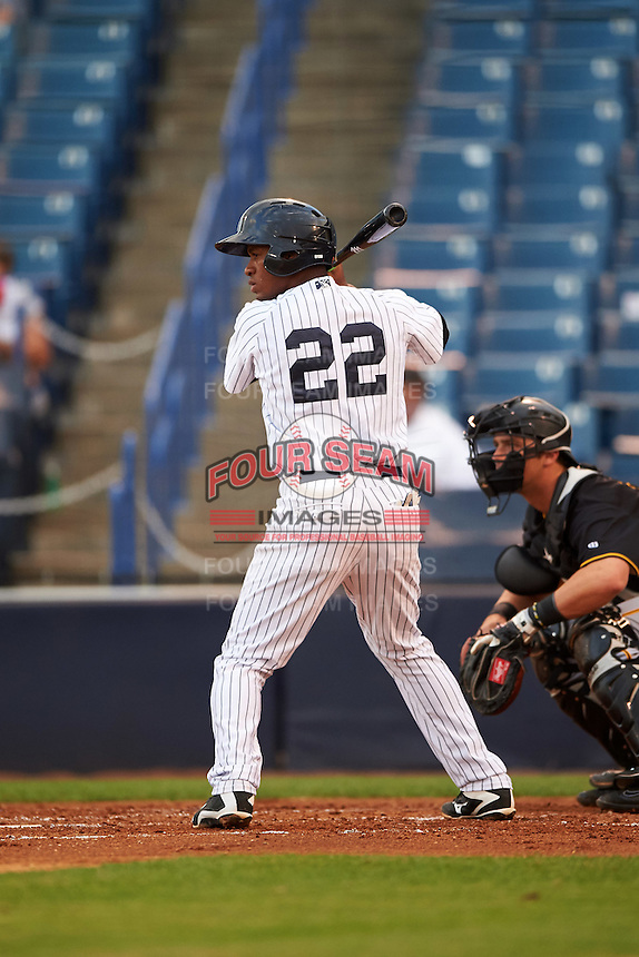 Tampa Yankees shortstop Abiatal Avelino (22) at bat during a game against the Bradenton Marauders on April 11, 2016 at George M. Steinbrenner Field in Tampa, Florida.  Tampa defeated Bradenton 5-2.  (Mike Janes/Four Seam Images)