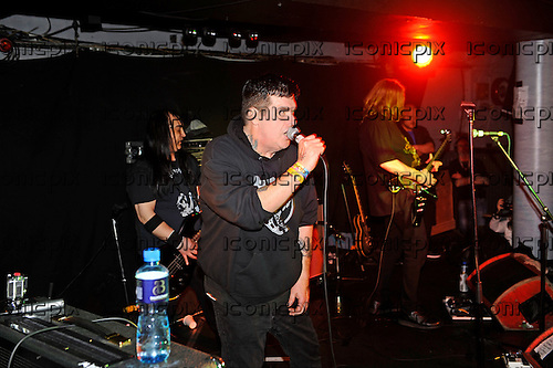 POISON IDEA - vocalist Jerry A (aka Jerry Lang) - performing live at the Underworld in Camden London UK - 27 Mar 2016.  Photo credit: Zaine Lewis/IconicPix