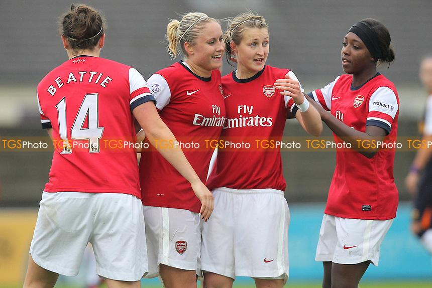 Ellen White (2nd R) celebrates scoring the fourth goal for Arsenal - Arsenal Ladies vs Liverpool Ladies - FA Womens Super League Football at Boreham Wood FC - 23/09/12 - MANDATORY CREDIT: Gavin Ellis/TGSPHOTO - Self billing applies where appropriate - 0845 094 6026 - contact@tgsphoto.co.uk - NO UNPAID USE.