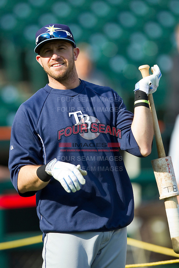 Evan Longoria (3) of the Tampa Bay Rays during batting practice prior to the game against the Detroit Tigers at Comerica Park on June 4, 2013 in Detroit, Michigan.  The Tigers defeated the Rays 10-1.  Brian Westerholt/Four Seam Images