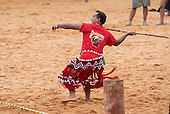 A contestant from French Guiana throws the lance at the International Indigenous Games, in the city of Palmas, Tocantins State, Brazil. Photo © Sue Cunningham, pictures@scphotographic.com 27th October 2015