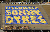 """Display cards say """"Welcome Sonny Dykes"""" is pictured before the game against Northwestern at Memorial Stadium in Berkeley, California on August 31st, 2013.  Northwestern defeated CAL, 44-30."""