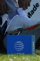 Dustin Johnson (USA readjusts his golf shoes on the 2nd tee at Spyglass Hill during the first round of the AT&T Pro-Am, Pebble Beach Golf Links, Monterey, California, USA. 06/02/2020<br /> Picture: Golffile | Phil Inglis<br /> <br /> <br /> All photo usage must carry mandatory copyright credit (© Golffile | Phil Inglis)