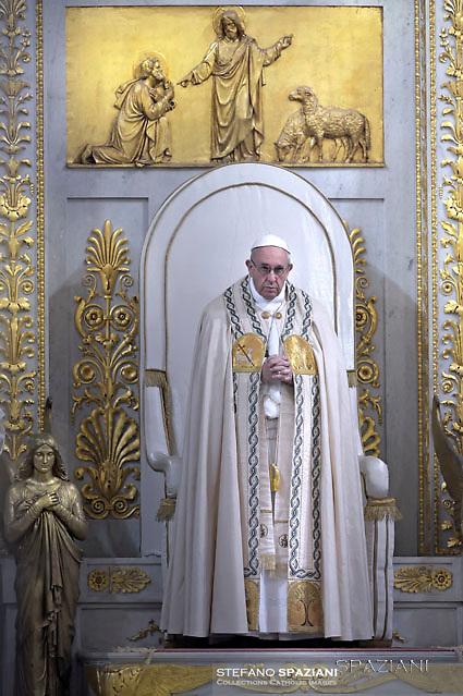 Pope Francis Celebration of the second vespers of Saint Paul basilica in Rome. January 25, 2017
