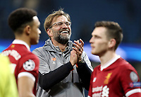 Liverpool manager Jurgen Klopp celebrates with his players at the final whistle<br /> <br /> Photographer Rich Linley/CameraSport<br /> <br /> UEFA Champions League Quarter-Final Second Leg - Manchester City v Liverpool - Tuesday 10th April 2018 - The Etihad - Manchester<br />  <br /> World Copyright &copy; 2017 CameraSport. All rights reserved. 43 Linden Ave. Countesthorpe. Leicester. England. LE8 5PG - Tel: +44 (0) 116 277 4147 - admin@camerasport.com - www.camerasport.com