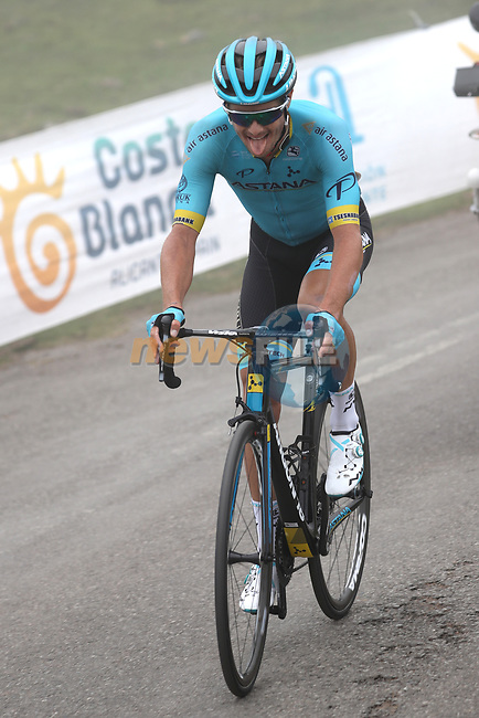 Jakob Fuglsang (DEN) Astana Pro Team attacks on the final climb of Stage 16 of La Vuelta 2019  running 144.4km from Pravia to Alto de La Cubilla. Lena, Spain. 9th September 2019.<br /> Picture: Luis Angel Gomez/Photogomezsport | Cyclefile<br /> <br /> All photos usage must carry mandatory copyright credit (© Cyclefile | Luis Angel Gomez/Photogomezsport)