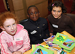 Aoife Howard, Shane Adu and Kenza Cherouat at the Card Making Workshop in The Library...Photo NEWSFILE/Jenny Matthews.(Photo credit should read Jenny Matthews/NEWSFILE)....This Picture has been sent you under the condtions enclosed by:.Newsfile Ltd..The Studio,.Millmount Abbey,.Drogheda,.Co Meath..Ireland..Tel: +353(0)41-9871240.Fax: +353(0)41-9871260.GSM: +353(0)86-2500958.email: pictures@newsfile.ie.www.newsfile.ie.FTP: 193.120.102.198.