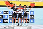2018-07-07 / Wielrennen / Seizoen 2018 / GP Rik Van Looy Herentals / Het podium met winnaar Brent Van Moer (midden), Niels Boele (l. 2e) en Jelle Schuermans (r. 3e)<br /> <br /> ,Foto: Mpics