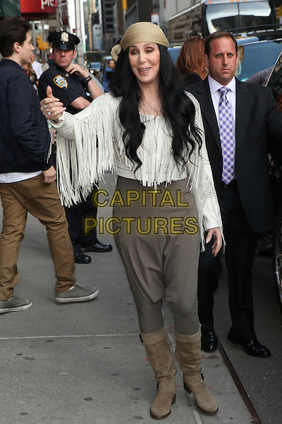 NEW YORK, NY - MAY 06: Cher visits the Late Show With David Letterman on May 6, 2015 in New York City. <br /> CAP/MPI/COR<br /> &copy;COR/MPI/Capital Pictures