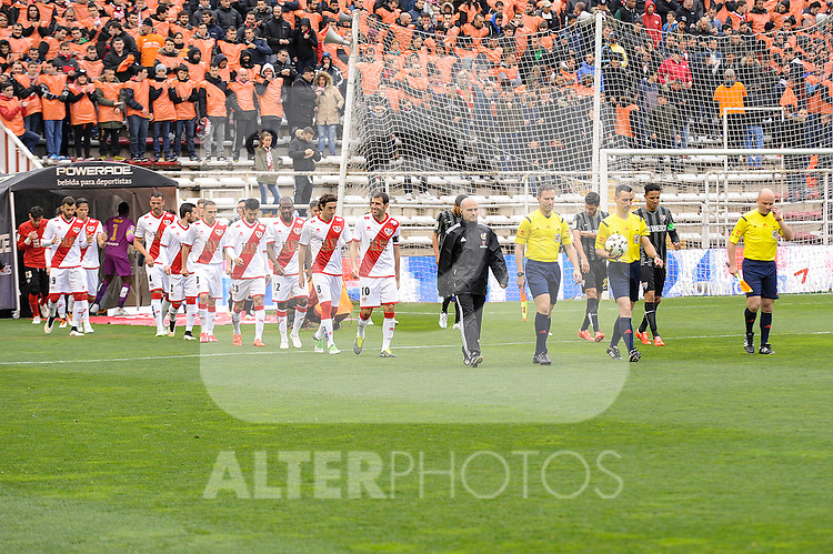Rayo Vallecano´s players and Malaga CF´s players during 2014-15 La Liga match between Rayo Vallecano and Malaga CF at Rayo Vallecano stadium in Madrid, Spain. March 21, 2015. (ALTERPHOTOS/Luis Fernandez)
